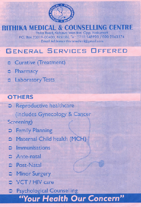 Services Offered at Rithika Medical Center. Ps: Scanned Copy!