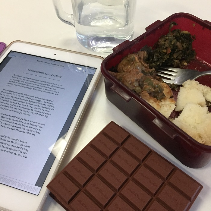 A good read over lunch. I had packed my favorite meal - Ugali, Sukuma Wiki and Beef Stew.
